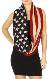 Wholesale J11B American Flag Infinity Knit Scarf