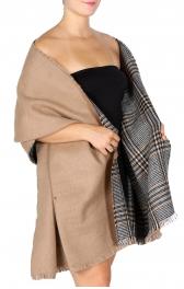 wholesale Q85B Reversible Woven ruana style shawl BLU