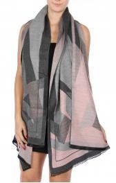 Wholesale S66B Cotton blend geometric print shawl scarf PI