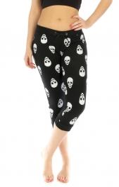 wholesale N03 Skull cotton blend capri pants Black