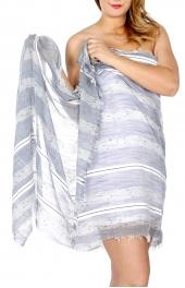 Wholesale H40C Soft linen-like stripes beach wrap