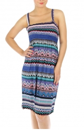 Wholesale K72 Multi-Patterned stripe dress Blue