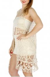 Wholesale H12E Long Crochet Fringe Vest Beige