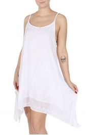 Wholesale I49C White Cotton Embroidery Dress WT