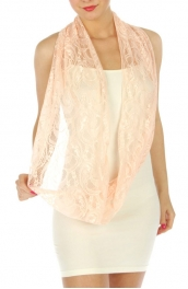 wholesale K88 Paisley lace infinity scarf lace Peach