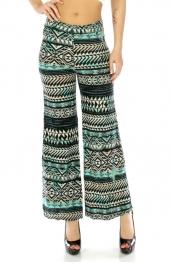 Wholesale C18 Tribal cotton blend pants Turquoise/Black