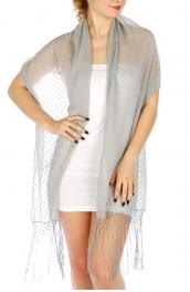 Wholesale O04 Decker evening shawl with fringe BK