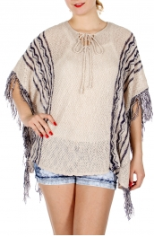 Wholesale J08D Fringed lace up knit poncho Taupe/navy