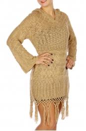 Wholesale N16E Round Neck Knit Sweater BEIGE
