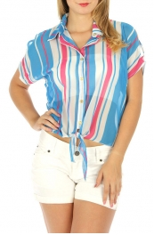 Wholesale G31 Striped cold shoulder top Blue fashionunic