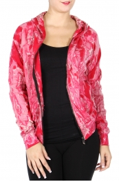 Wholesale U67B Cotton full-zip hooded jacket Fuchsia
