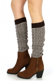 wholesale Q62 Greek key pattern knit leg warmers Brown