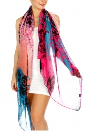 Wholesale J02A Rosy Abstract Long Scarf BL/MT
