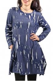 Wholesale K80C Cotton blend distressed top BLUE PLUS SIZE