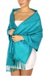 wholesale D35 Whole Jacquard Pashmina 74 Turquoise