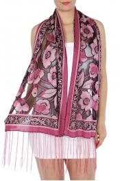 wholesale I49 Rhinestone flower burnout scarf Black