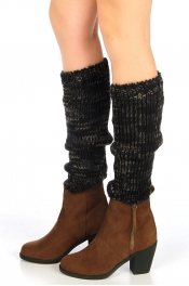 wholesale H39 Multicolor marble knit leg warmers Black
