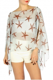 Wholesale H06A Starfish sheer multiway poncho BK