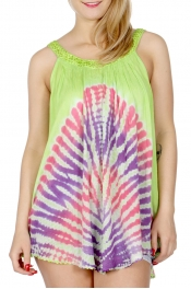 Wholesale H19A Coloful tie dye sleeveless batik tunic Lime