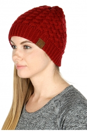 Wholesale A40 C.C Knit basketweave beanie Burgundy