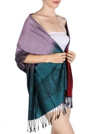 wholesale D35 Ornate Abstract Pashmina Gradation Black