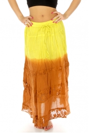 wholesale K80 2-Tone tie dye cotton skirt crochet Brick