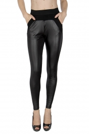 Wholesale C36 Pleather front pull up pants fashionunic