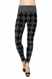 Wholesale H10 High waisted checkered jacquard fleece leggings