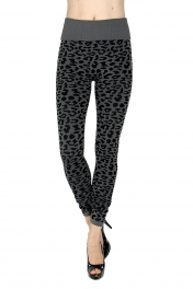 Wholesale H10 High waisted cheetah jacquard fleece leggings