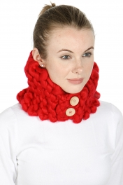 Wholesale R84 Hand stitched buttoned neck warmer Black