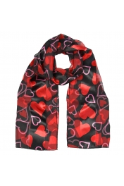 Wholesale WA03  Satin stripe hearts print scarves BKRD
