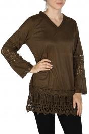 Wholesale I14E Acid wash crochet trim batik tunic blouse DENIM