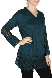 Wholesale K40E Acid wash crochet trim batik tunic blouse DENIM