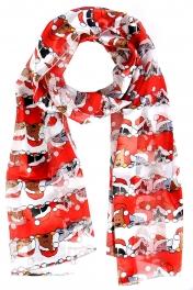 Wholesale WA00 Satin stripe scarf HOLIDAY CATS & DOGS