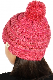 Wholesale Q69S C.C Children 4-tone pom pom beanie Hot Pink/Burgundy/Pale Pink/White