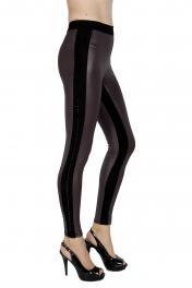 wholesale F14 Embellished matte liquid leggings Grey S/M