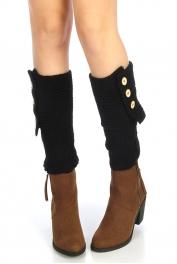 wholesale Knit buttoned flap leg warmer Black
