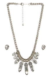 wholesale Clustered stone necklace set RHCL fashionunic