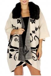 Wholesale O11D Fur Collar Knit Ruana Beige