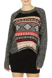 Wholesale N07D Tribal pattern marled sweater Black/White