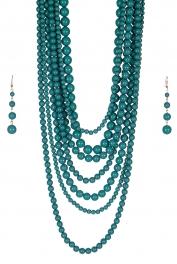 Wholesale M24E 7 Multi Layer Pearl Beads Necklace Set  BLZ