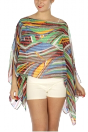 Wholesale G26A Abstract stripes two-way poncho BL/MT