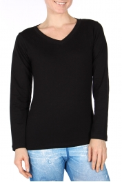 Wholesale A23B Cotton blend V-neck tee Black