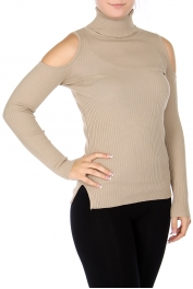 Wholesale S60S Cotton blend cold shoulder turtle neck sweater Khaki