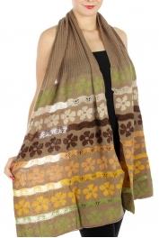 wholesale Q12 Multi color stipe flower knit shawl BG