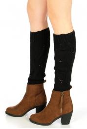 wholesale H37 Curly rhombus knit leg warmers Black