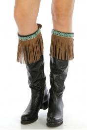 Wholesale Q04 Long faux suede boot cuff Brown