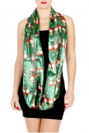 Wholesale G49B Sheer stripe satin-like Snowman print infinity scarf GN