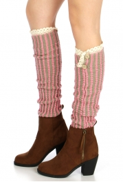 Wholesale T31 Buttoned vertical stripe knit leg warmersGrey/Pink