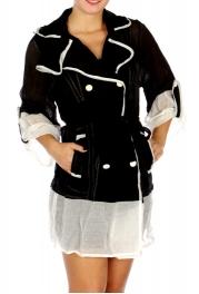 Wholesale N14B Unique Color Contrast Chiffon Outer Jacket BLACK